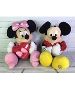 "Disney Store Mickey Minnie Mouse 17"" Stuffed Plush Love Set Red Roses Ch... - $50.48"