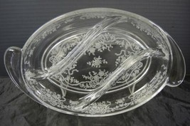 "Elegant Fostoria Romance #341 Crystal Etch 12 ¼"" Oval 3 Part Divided Bow... - $6.65"