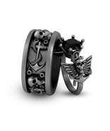 His and Her Matching Winged Skull Anchor Engagement Ring Band Set Gun Me... - $369.99+