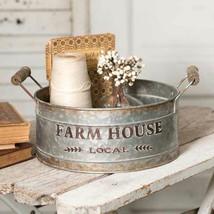 Farmhouse FARM HOUSE LOCAL ROUND BIN Country Rustic Primitive Storage Ha... - $42.99