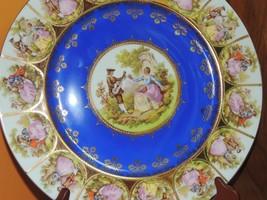 "Vintage Fragonard 11"" Platter Plate Courting Couple Colbalt Gold Edged G... - $249.99"