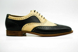 Handmade Men's Black &Yellow Wing Tip Brogues Slip Ons Dress Oxford Leather Shoe image 3