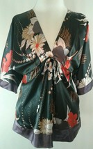 BCBG Maxazria Womens  V-Neck Kimono Top Size Small Black Orange White Ti... - $23.23