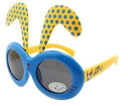 Detachable Black Dot Rabbit Ear Ultraviolet-Proof Baby Sunglasses-Blue Frame