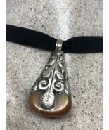 Vintage Compressed Amber White Bronze Necklace - $95.04