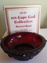 Ruby Red Glass Bowl Dessert AVON CAPE COD COLLECTION Vintage - $22.50