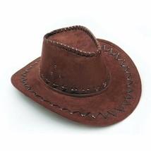 Summer Coffee Cowboy Hat Suede Look Wild West Fancy Dress Men Ladies Cow... - $9.13