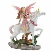Dragon Crest Magical Pink Fairy with Unicorn Figurine 5x2.25x6.5 - £22.22 GBP