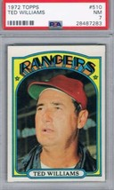 1972 Topps #510 Ted Williams Rangers MG  PSA 7 NM - $39.55