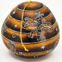 Handcrafted Carved Gourd Art Honeybee Beehive Bees Pollinator Ornament Made Peru image 3