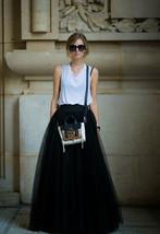 BLACK MAXI SKIRT Plus Size Elastic Full Long Black Tulle Skirt Black Party Skirt image 1
