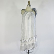 M - MAEVE Anthropologie White Chambray Tie Neck Striped Flowy Sun Dress ... - $37.00