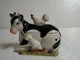 Vintage Fitz and Floyd FARM COUNTRY Figural Dairy Cow & Chickens Sugar Bowl - $12.86