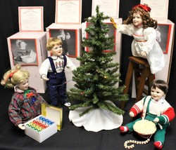 Ashton Drake 4 Porcelain Doll Set & Accessories Decorating Tree w/ COA &... - $120.00