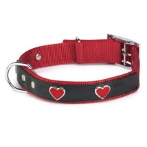 East Side Collection 8 to 11-Inch Nylon Heart Charm Dog Collar, Red - $11.15