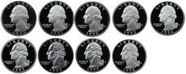 1990-1998 S Complete Set Washington Quarters Gem Proof Run 9 Coins US Mi... - $19.99