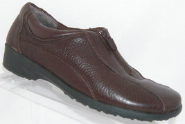 Easy Spirit 'Analises' brown leather round toe zip elastic slip on shoe ... - $26.51