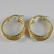 18K YELLOW GOLD TWISTED EARRINGS WORKED & BRIGHT CIRCLE HOOP 23 MM MADE IN ITALY image 3