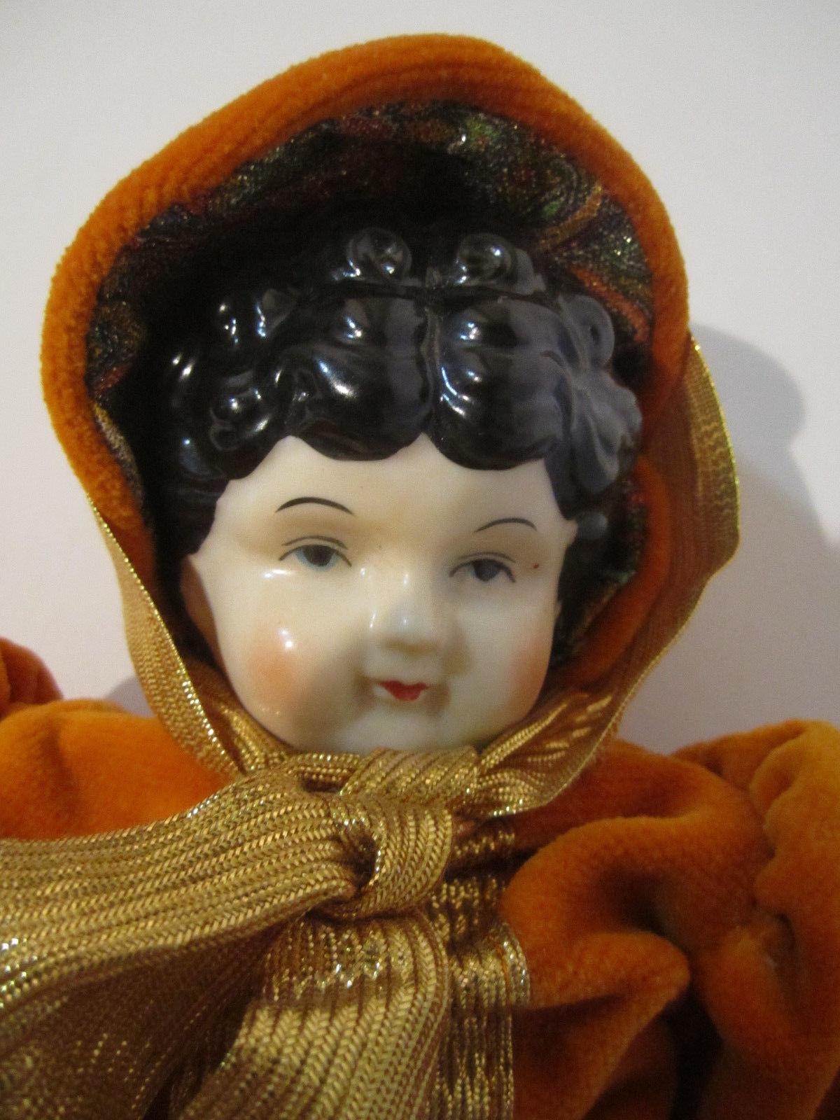 Elegant Repro Porcelain Brunette Doll Orange & Paisley Dress GORGEOUS! image 2