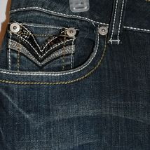 Request Women's Dark Blue Distressed Rhinestone Embellished Jeans Size 13/32 image 4