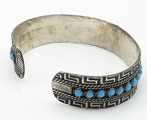 925 Silver - Vintage Turquoise Bead Detail Greek Key Cuff Bracelet - B4925