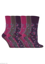 6 Pairs Womens Sockshop Gentle grip socks 4-8 uk,37-42 Floral Pink GG58 - £11.04 GBP