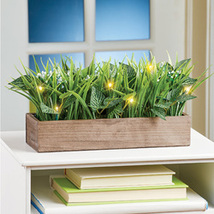 Lighted Led Faux Grass in Wooden Planter  - $26.16