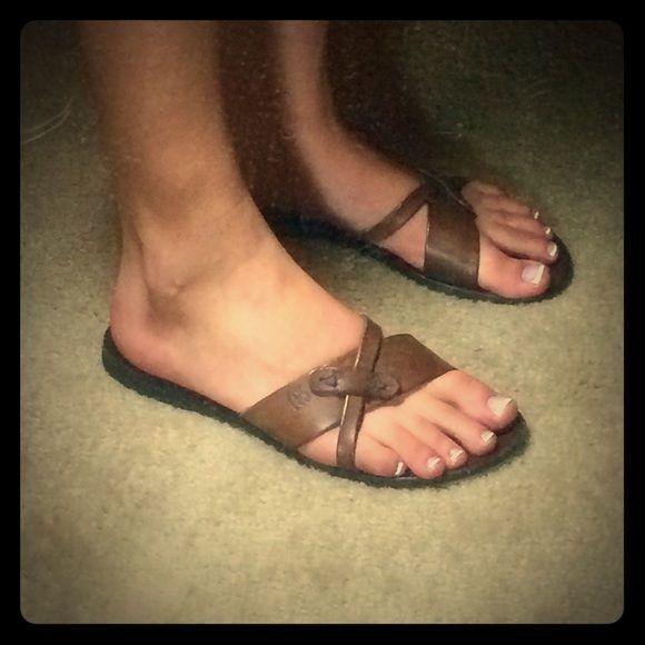 IL BISONTE Women's Cozy Flat Leather Slip-on Sandals EUR 37 US 6.5 - RARE!