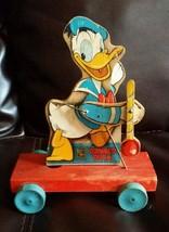 Vintage 1948 Fisher Price Donald Duck Donald Duck Drum Major Cart #432-5... - $116.88