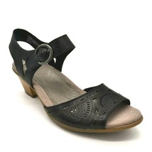 Earth Women Carson Westport Leather Wedge Slingback Sandals Black Size 6... - $37.99