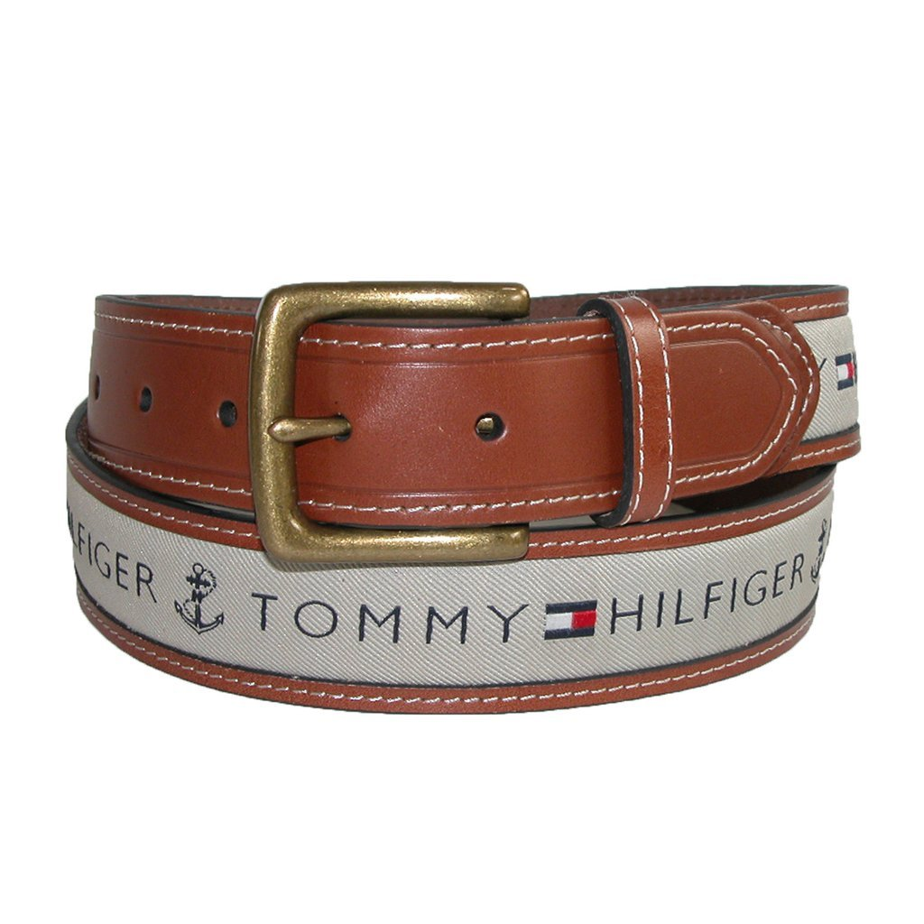 Primary image for Tommy Hilfiger Men's Leather Casual Belt With Fabric Inlay