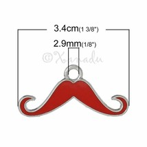 Red Mustache Wholesale Silver Plated Enamel Charm Pendants C7214 - 2, 5 ... - $12.00+