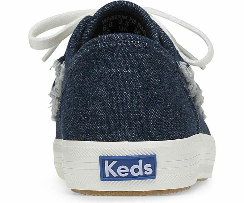 Keds WF59239 Women's Kickstart Ruffle Denim Blue Shoes, 8 Med