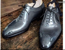 Handmade Men American Luxury Brogues Toe Gray Leather Shoes, leather shoes - $144.99+