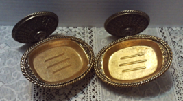 Vintage American Tack & HDWE. Co Wall Mount Gold Ornate Soap Dishes - $25.00