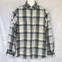 Barbour Dovedale Shirt Button Front Blue Green Plaid Regular Fit Womens New - $52.49