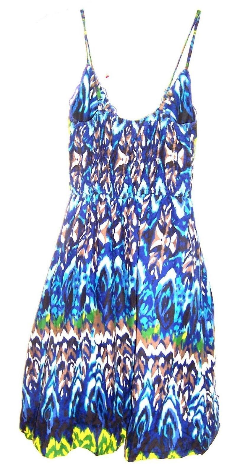 Sz XS-M - She's Cool Blue Tie Dye Batik look Sundress Stretch Dress