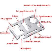 11-in-1 Hunting Survival Camping Credit Card Pocket Tool Knife - Ships f... - $5.04