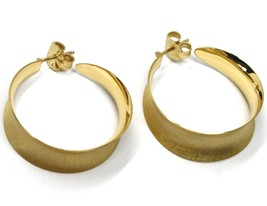 925 STERLING SILVER CIRCLE HOOPS BIG EARRINGS 3cm x 1cm YELLOW SATIN CURVED image 2