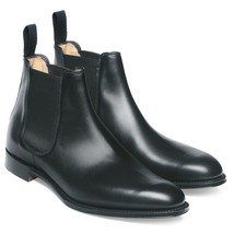 Handmade Men's Black Leather High Ankle Chelsea Boots image 4