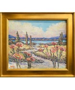 KADLIC Impressionist Seascape French Riviera Original Oil Painting Gilt ... - $246.51