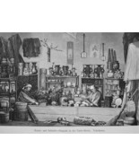 JAPAN Yokohama Arts & Crafts Store on Curio Street - 1882 Wood Engraving - $19.80