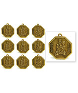 "LOT OF 10 BUDDHA FENG SHUI CHARMS 1"" Chinese Brass Pendant Bagua Good Lu... - $8.95"