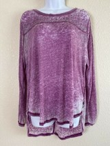 Seven7 Womens Size L Purple Heathered Shirt Long Sleeve Rhinestone Accents - $11.84