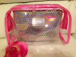 Victoria's Secret Love  PINK Makeup Bag Duo Light Pink Silver Clear Bag - $18.80