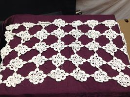 Vintage Hand Crocheted Table Pieces and White/Off white Table Cloth image 6