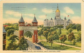 State Capitol Memorial Park Hartford Used 1941 Curt Teich Linen Postcard CT P954 - $7.00