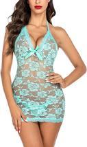 Women Lingerie Halter Chemise Lace Babydoll Mesh Nightwear V Neck Sleepwear Set image 10