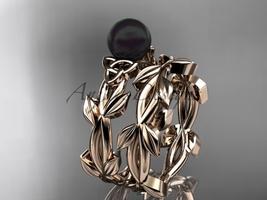 Celtic trinity knot rose gold black cultured pearl wedding ring set CTBP7522S - $1,125.00