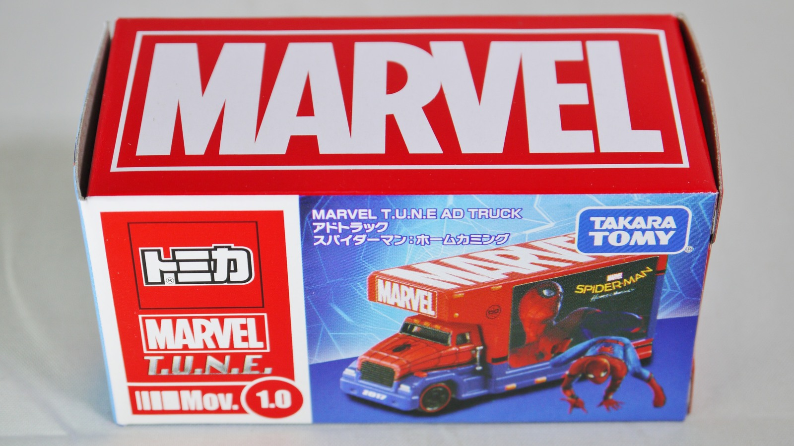 Tomica Marvel Tune Mov 10 2017 Ad Truck And 50 Similar Items Diecast No77 Hino Profia Original Takara Tomy Super Hero Spider Man Red